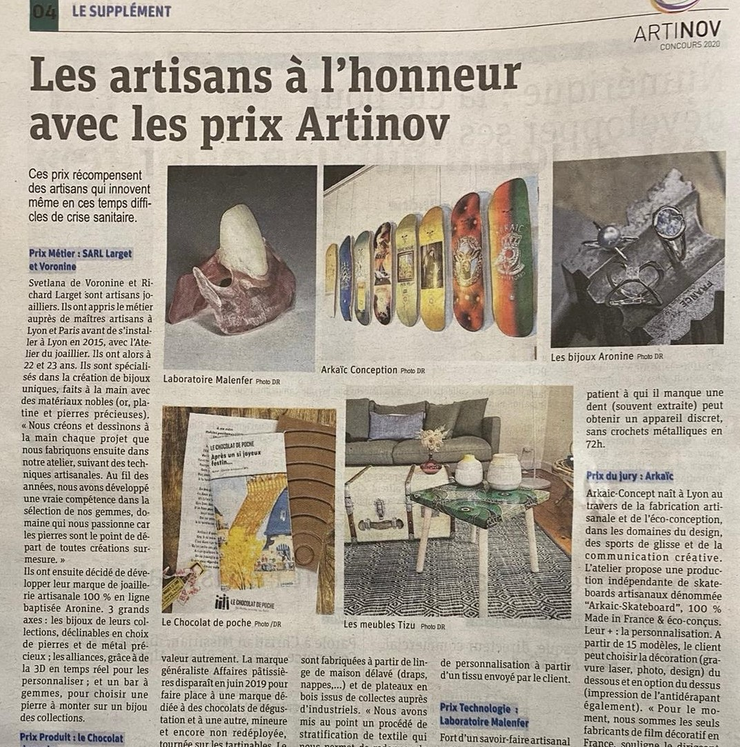 Article paru dans le Progrès sur le prix Artinov remis à Aronine