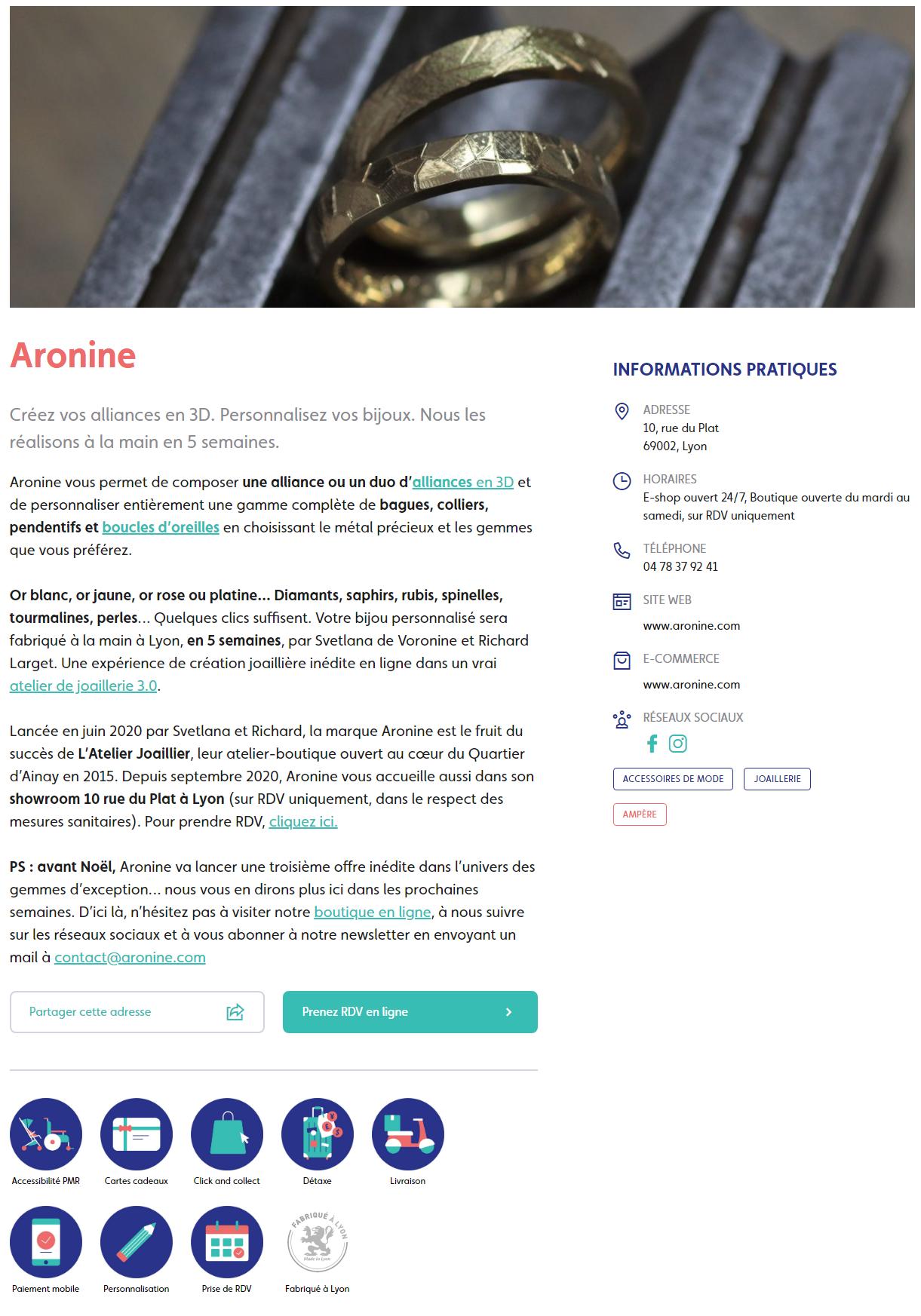 Click and Collect : Aronine figure désormais dans l'annuaire en ligne des commerçants du centre-ville historique lyonnais