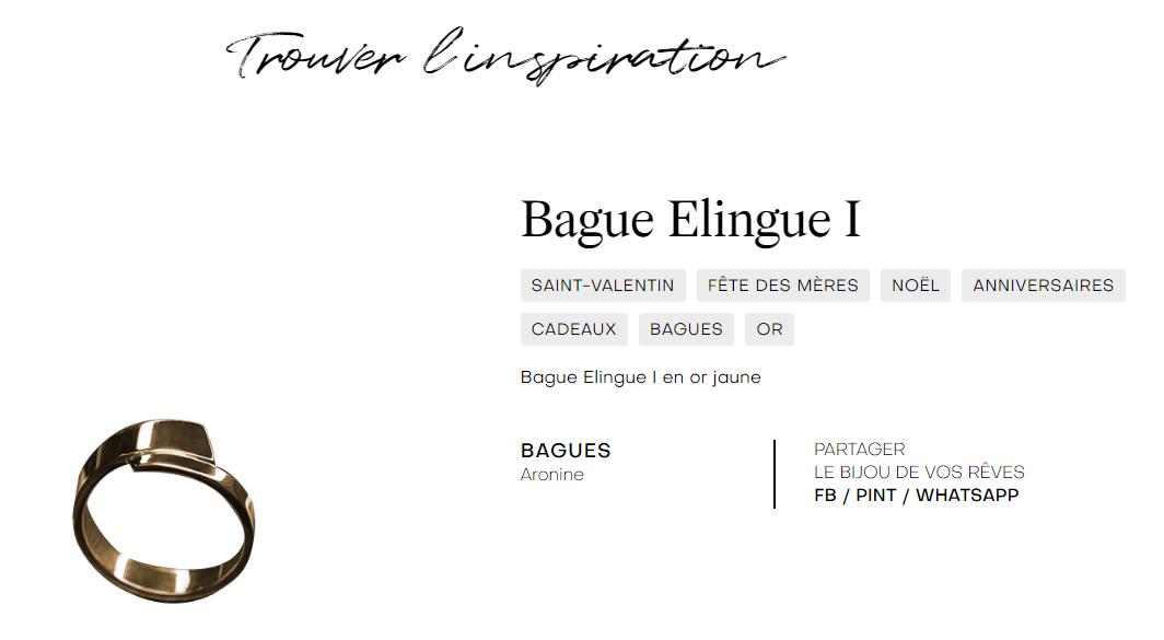 La bague Elingue d'Aronine a été repérée par les experts joailliers de Francéclat