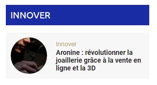 Innovation 3.0 : Aronine encore cité en exemple