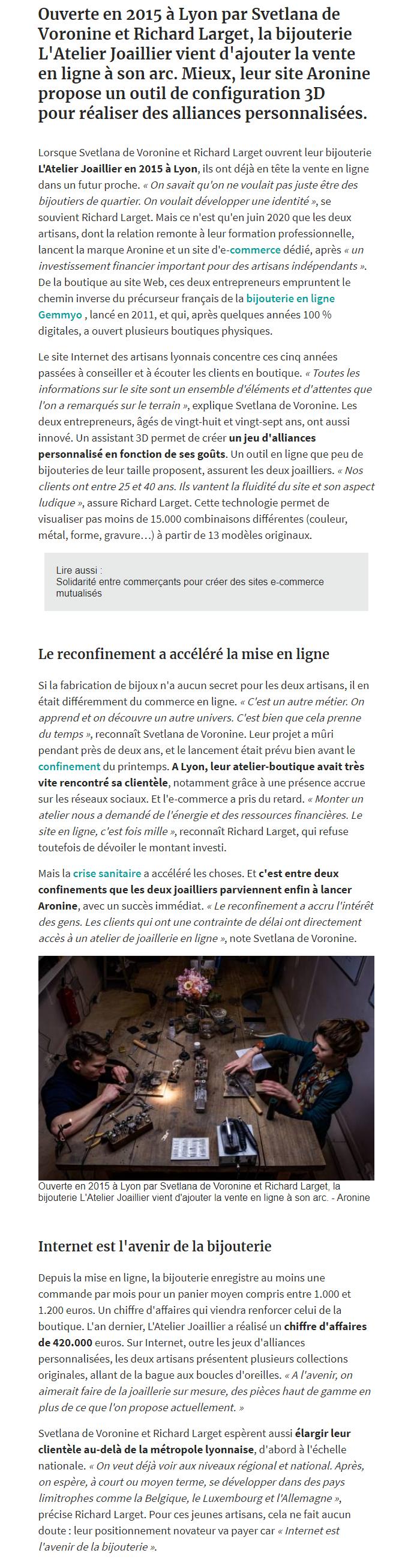 Le quotidien Les Echos consacre un long article au virage digital du joaillier lyonnais Aronine