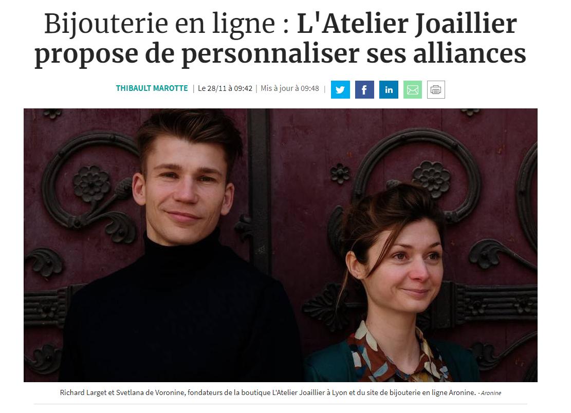 """Joaillier en ligne, Aronine fait la une des Echos (cahier """"Entrepreneurs"""")"""